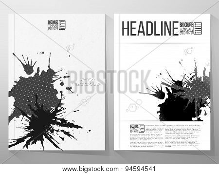 Abstract hand drawn spotted gray-black background with empty place for text message, grunge style il