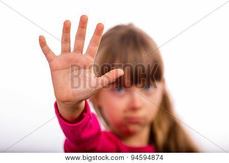 Girl Making Stop Gesture