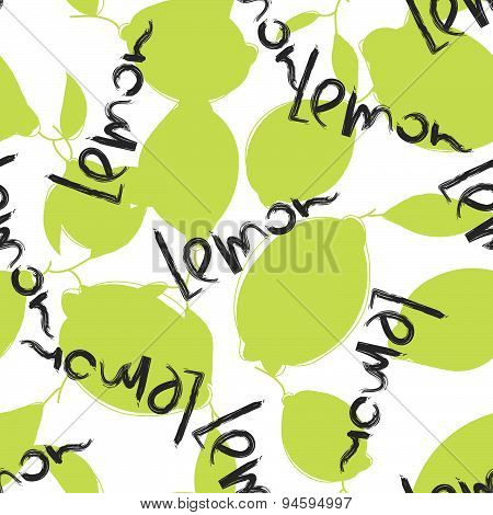 Green lime and lemon fruits on white background. Citrus seamless silhouette vector pattern.