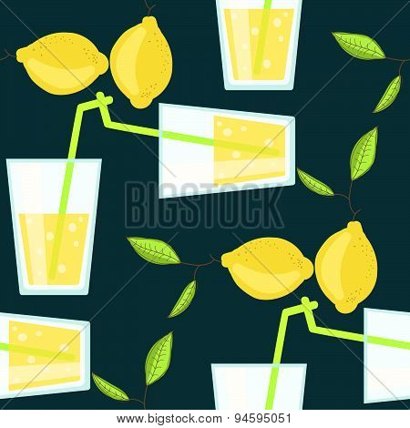 Lemonade cocktail seamless vector pattern with lemons