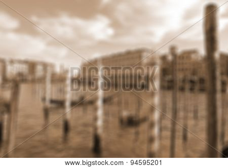 Venice, Italy. Beautiful View Of Grand Canal With Venetian Gondolas. In Sepia Toned. Retro Style. In
