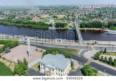 Historical center and Lovers Bridge. Tyumen.Russia