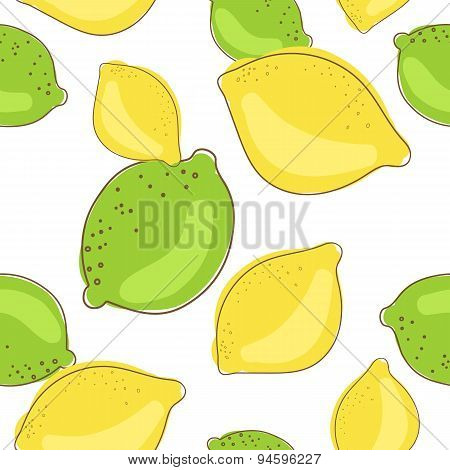 Green Lime And Lemon Fruits On White Background. Citrus Seamless Vector Pattern.