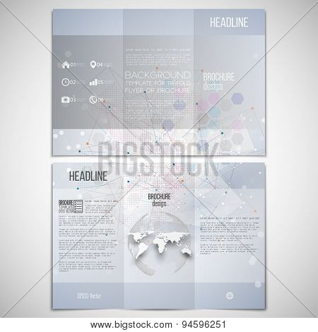 Vector set of tri-fold brochure design template on both sides with world globe element. Molecule str