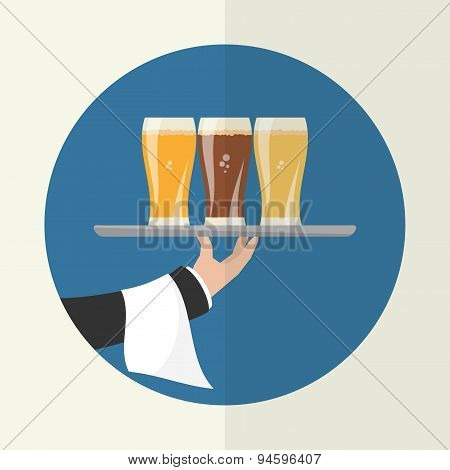 Waiter With Three Glasses Of Beer