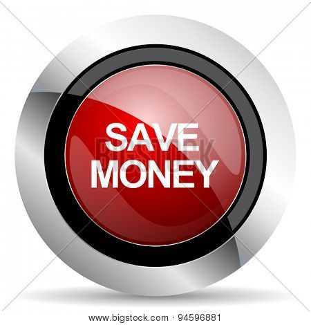 save money red glossy web icon original modern design for web and mobile app on white background