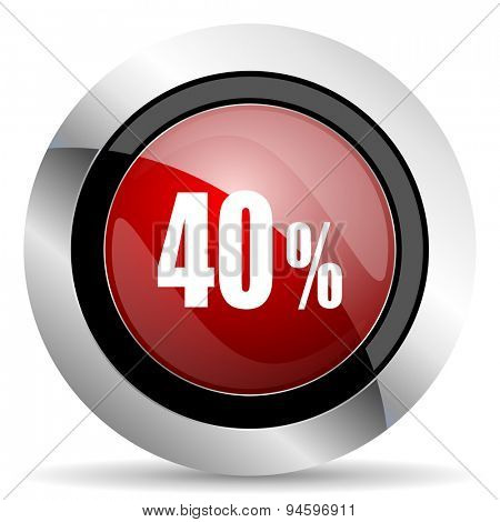 40 percent red glossy web icon original modern design for web and mobile app on white background