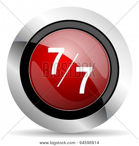 7 per 7 red glossy web icon original modern design for web and mobile app on white background