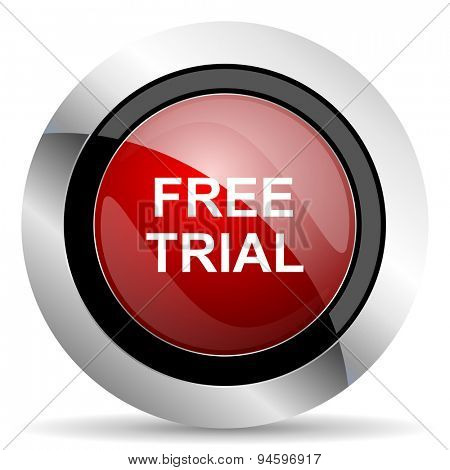 free trial red glossy web icon original modern design for web and mobile app on white background