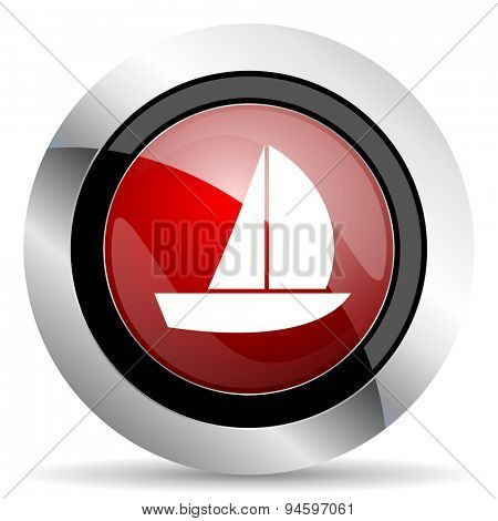 yacht red glossy web icon original modern design for web and mobile app on white background