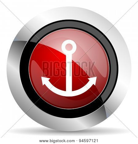anchor red glossy web icon original modern design for web and mobile app on white background