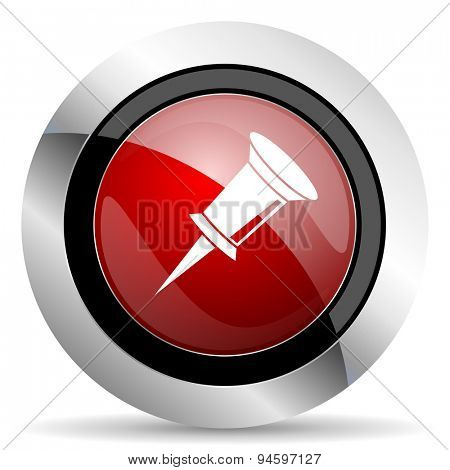 pin red glossy web icon original modern design for web and mobile app on white background