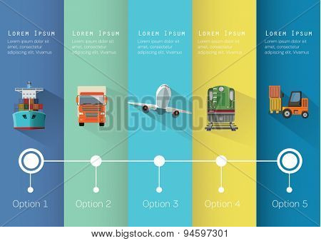 Set of transportation flat icons infographics. Vector illustration.