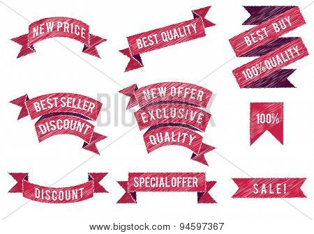 Set of flat colored ribbons. Vector illustration.