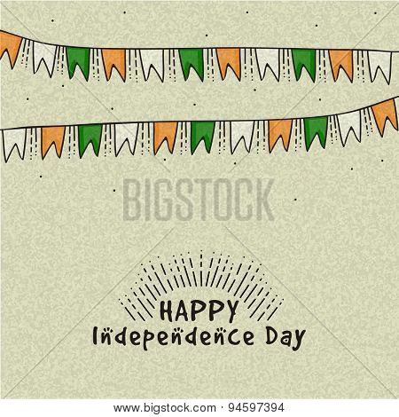 National tricolor bunting decorated greeting card for Happy Indian Independence Day celebration.
