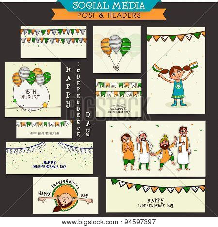 Social media and marketing post, headers, banners or ads for Happy Indian Independence Day celebration.