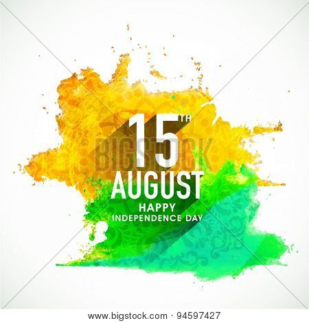 Beautiful greeting card design with stylish text 15th Aug on floral design decorated national flag colors splash background for Indian Independence Day celebration.