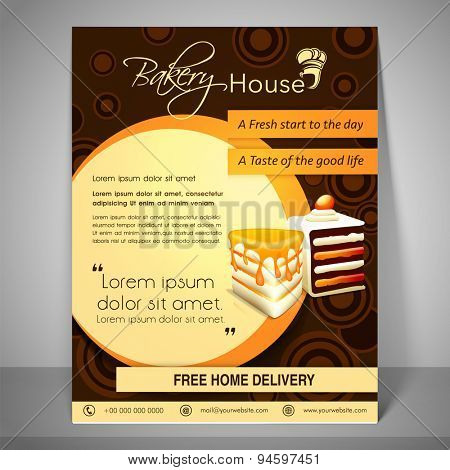Bakery house menu and banner with address bar, place holder and mailer on stylish background.