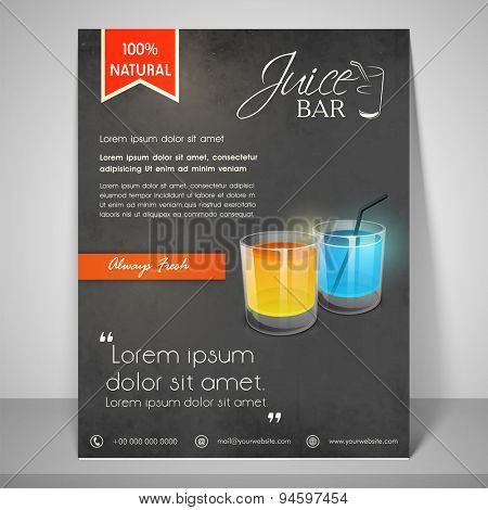 Always fresh juice bar menu or flyer with address bar or mailer.
