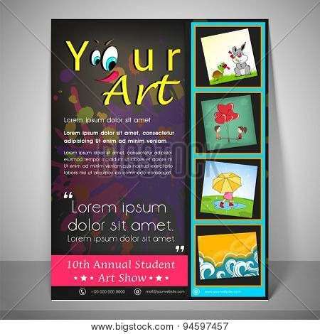 Kiddish flyer and banner for 10th annual student art show with childish icons , address bar and mailer.