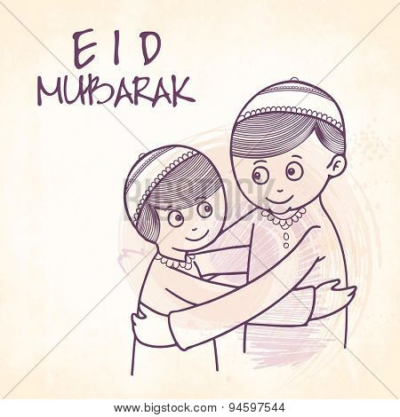 Cute Muslim boys hugging and wishing each other on occasion of Islamic festival, Eid Mubarak celebration.