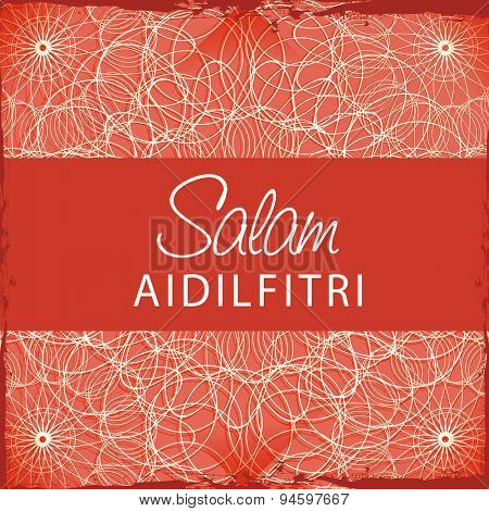 Muslim community festival, Eid celebration greeting card with stylish text Salam Aidilfitri on abstract red background.