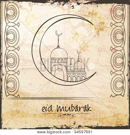 Illustration of hand drawn mosque on crescent moon on grungy background for Muslim community festival, Eid celebration.