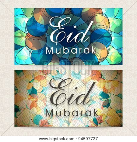 Creative artistic website header or banner set for Islamic holy festival, Eid Mubarak celebration.