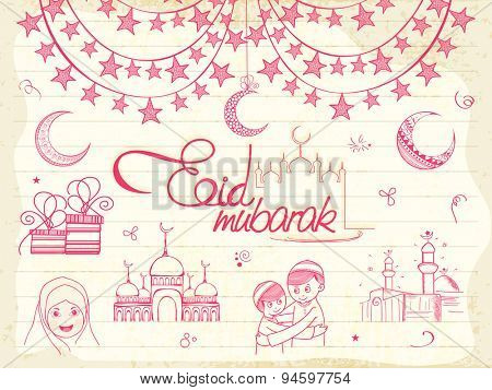 Set of various Islamic elements with illustration of religious Muslim kids on grungy notebook paper background for Eid festival celebration.