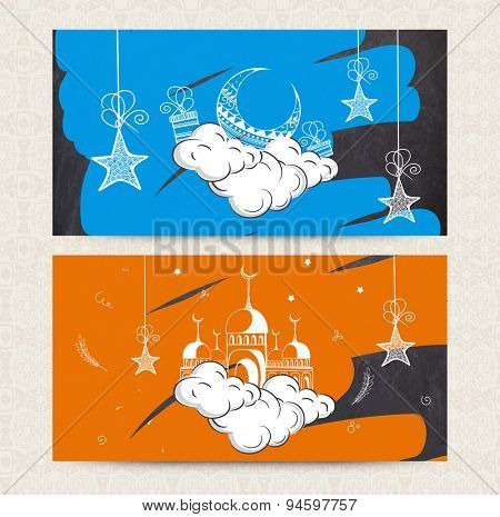 Beautiful website header or banner set decorated with crescent moon, hanging stars and mosque for Muslim community festival, Eid celebration.