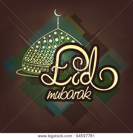 Elegant greeting card with floral design decorated mosque on stylish background for Islamic holy festival, Eid Mubarak celebration.