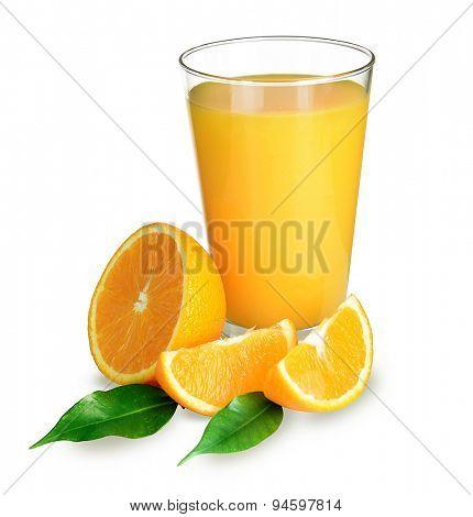 Glass of orange juice isolated on white