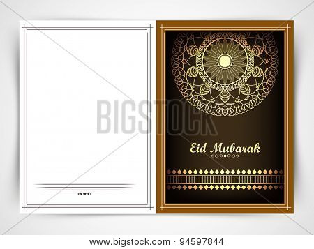 Beautiful greeting card decorated by golden floral design for muslim community festival, Eid Mubarak celebration.