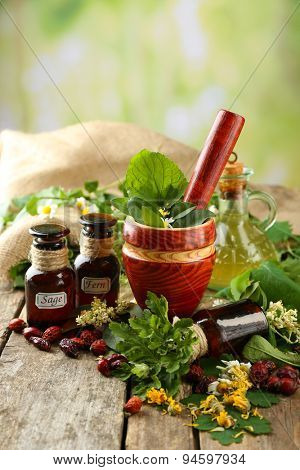 Herbs, berries and flowers with mortar, on wooden table, on bright background