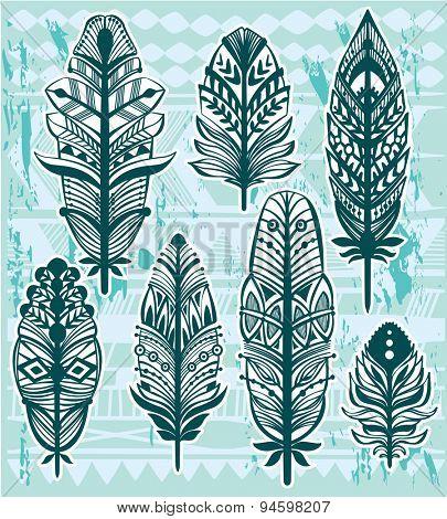 Set of ethnic tribal feathers