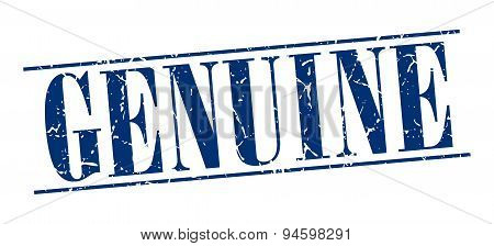 Genuine Blue Grunge Vintage Stamp Isolated On White Background