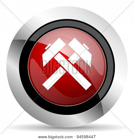 mining red glossy web icon original modern design for web and mobile app on white background