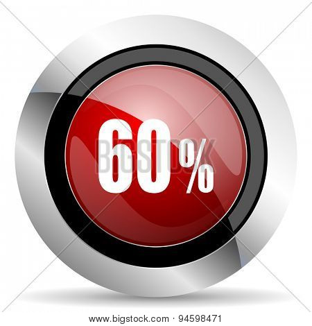 60 percent red glossy web icon original modern design for web and mobile app on white background