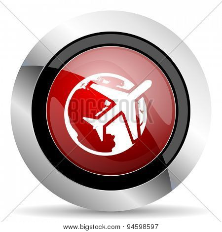 travel red glossy web icon original modern design for web and mobile app on white background