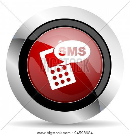 sms red glossy web icon original modern design for web and mobile app on white background