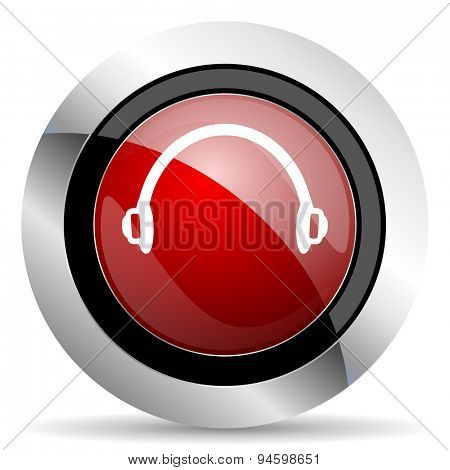 headphones red glossy web icon original modern design for web and mobile app on white background