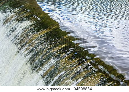 background texture of running water in the river dam