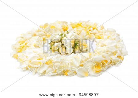 Bouquet Of Yellow Roses And Rose Petals