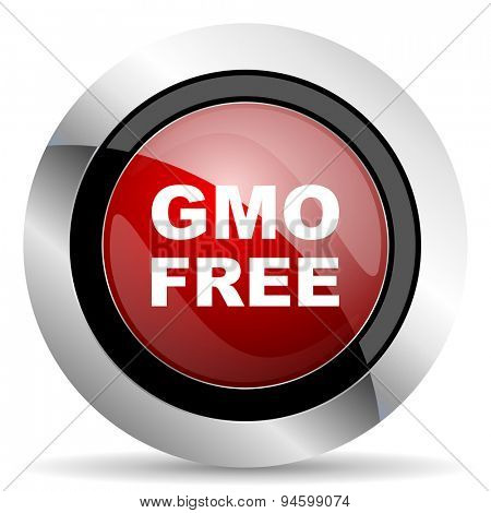 gmo free red glossy web icon original modern design for web and mobile app on white background