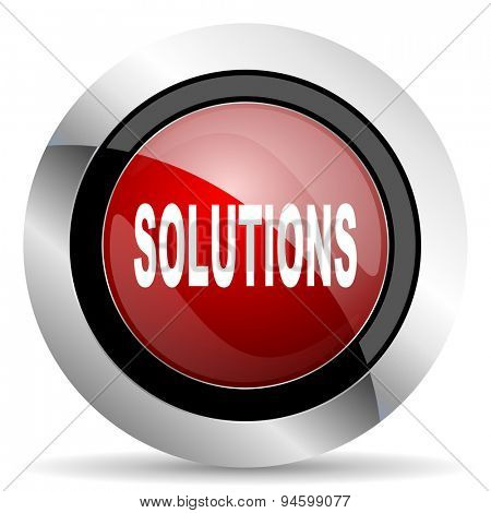 solutions red glossy web icon original modern design for web and mobile app on white background
