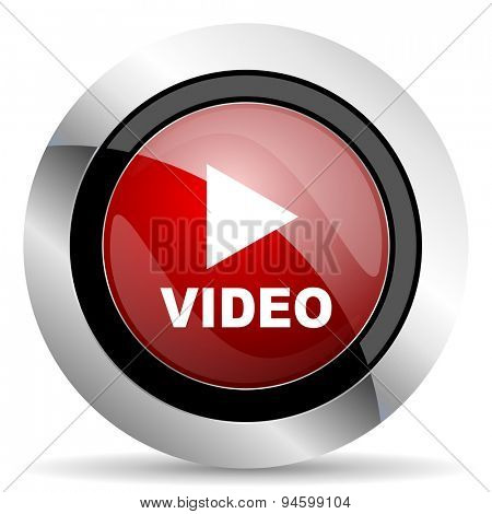 video red glossy web icon original modern design for web and mobile app on white background