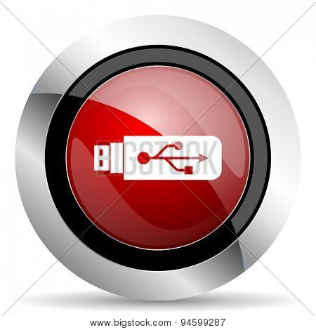 usb red glossy web icon original modern design for web and mobile app on white background