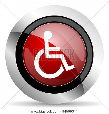 wheelchair red glossy web icon original modern design for web and mobile app on white background