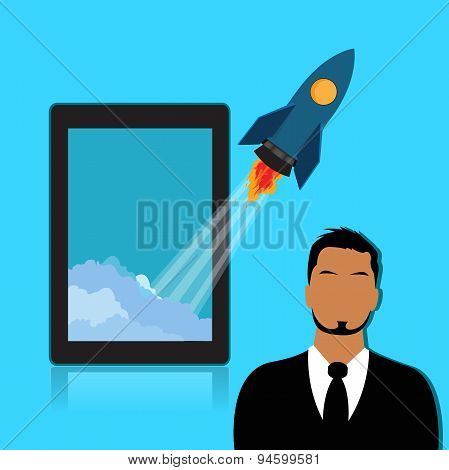 Start, up, rocket, tablet, businessman