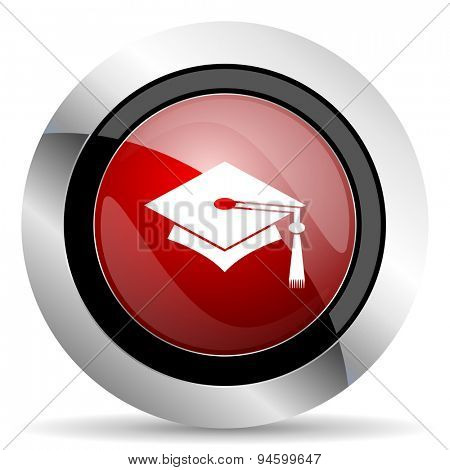 education red glossy web icon original modern design for web and mobile app on white background